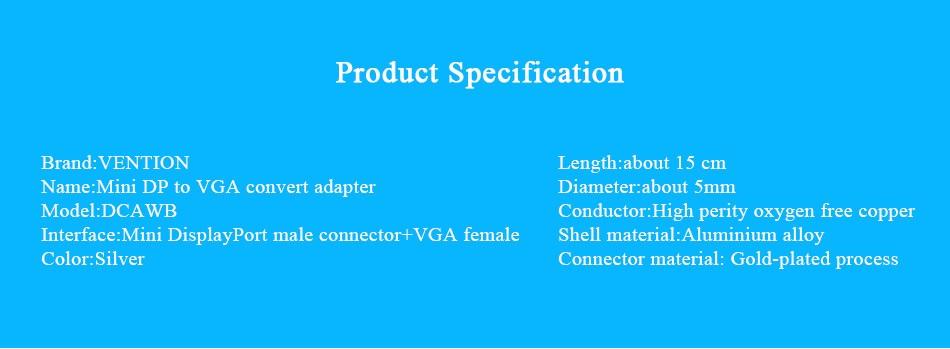 Vention mini DP to VGA converter adapter