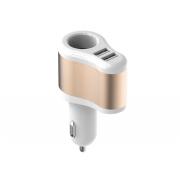 Vention car charger dual usb output 10w (5v-2.1a)+12v output