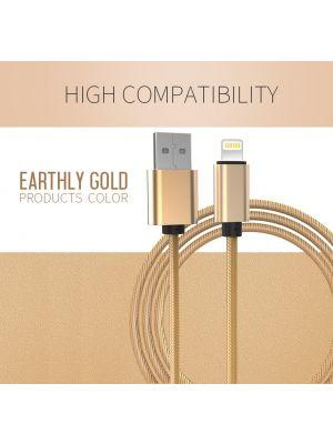 Optimus Usb data kabel, najlonski pleteni, kompatibilno s Iphone 5/6/7/8/X, 1m, zlatni