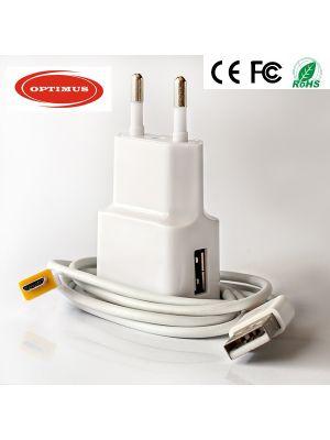 Optimus usb kućni punjač 5w (5v-1a) + mikro usb data kabel, 1.5m